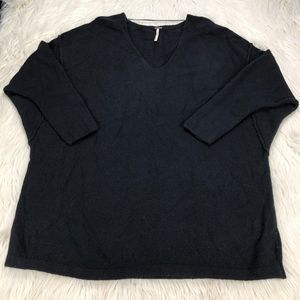 Free People Black Oversized Tunic Sweater